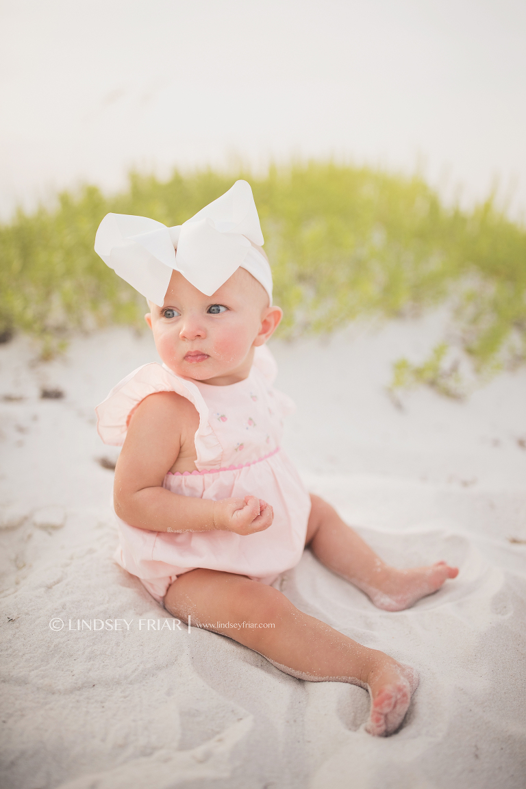 beach portrait of a 7 month old