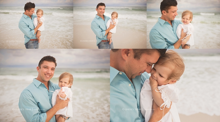 Daddy and Daughter bond on Pesnacola Beach
